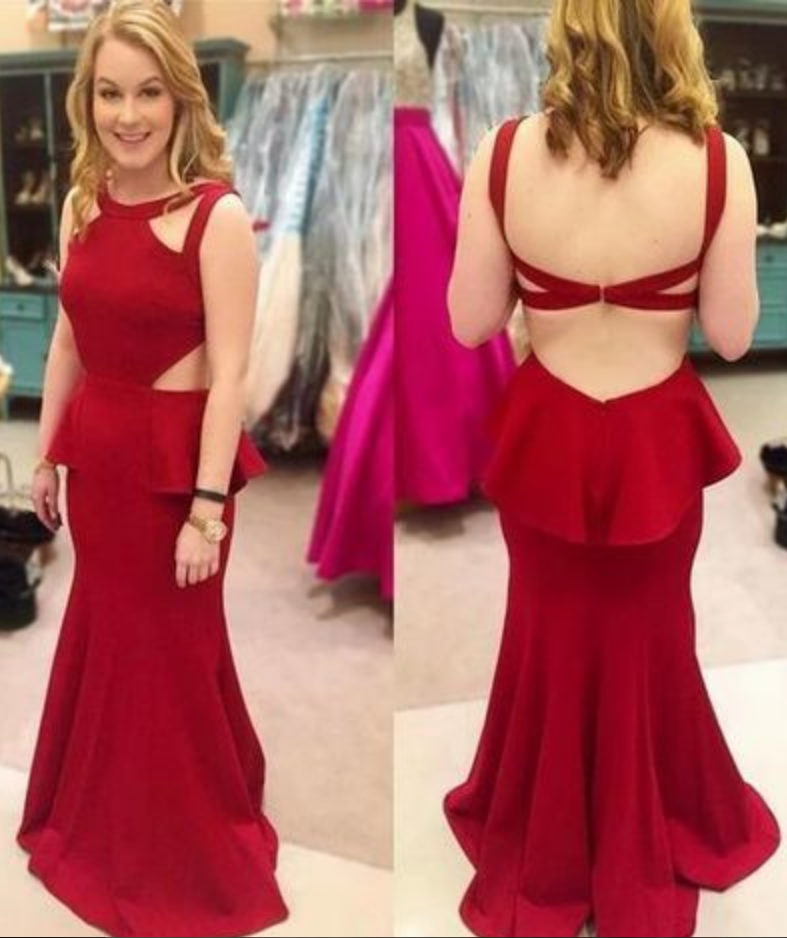O-Neck Prom Dress,Backless Prom Dress,Charming Prom Dress,Mermaid Prom