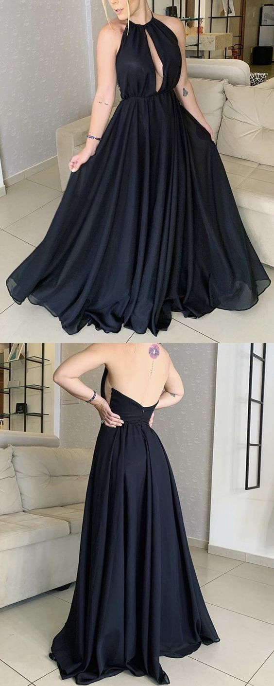 Halter A Line Prom Dress, Evening Party