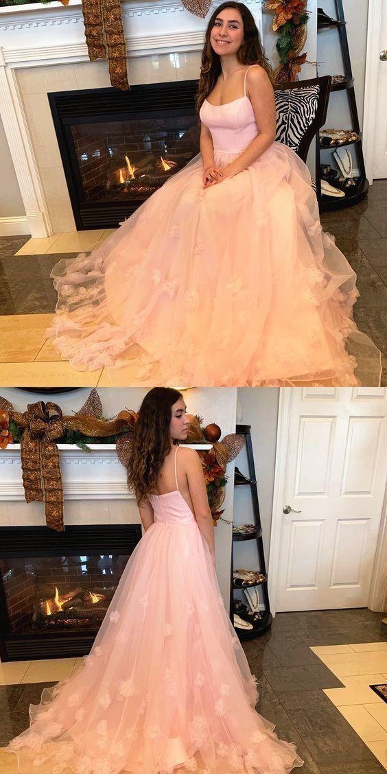 Charming Straps  Tulle Long Prom Dress, Wedding Formal Dress