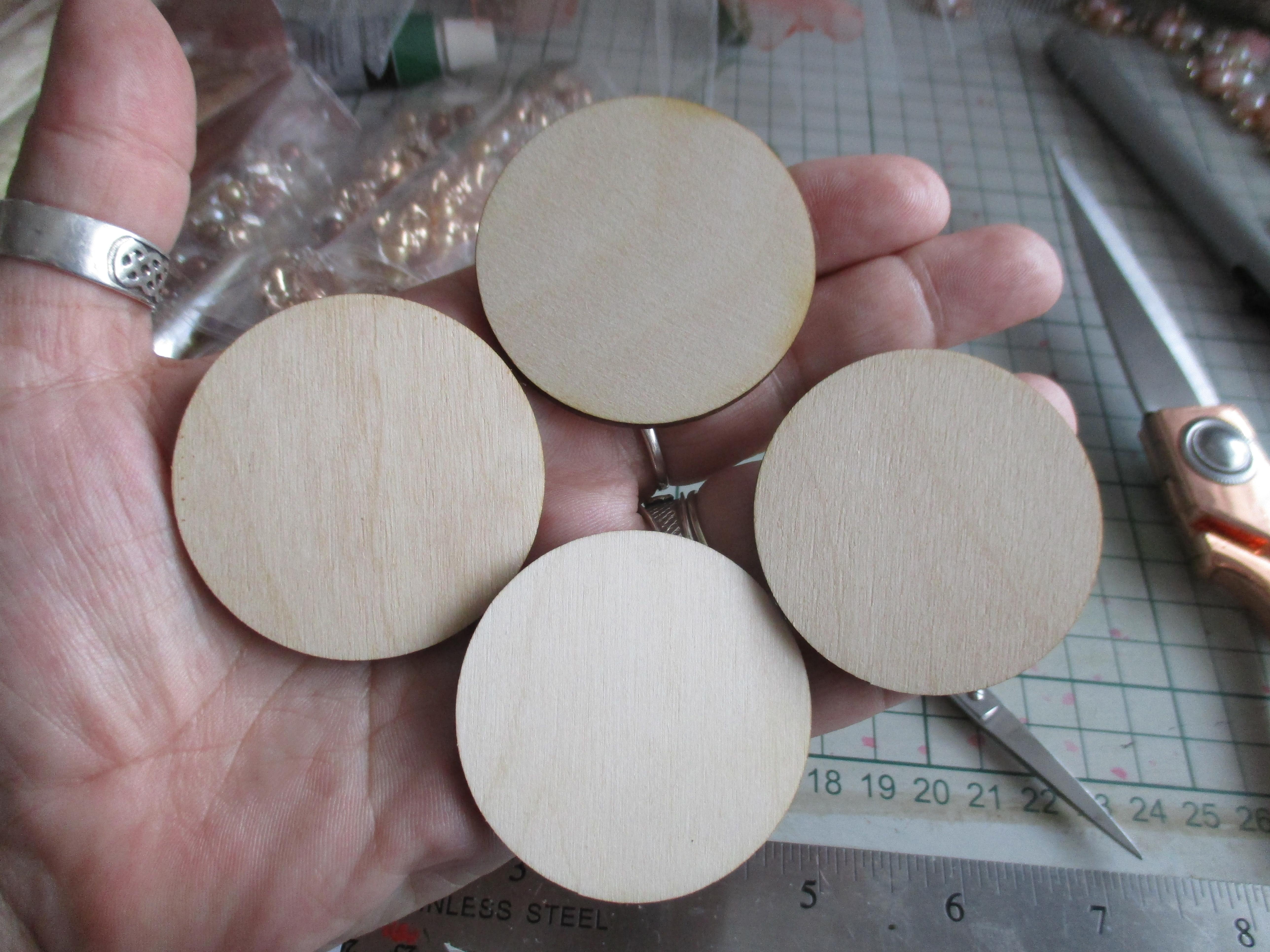4 x 2 Inch Round Wooden Discs