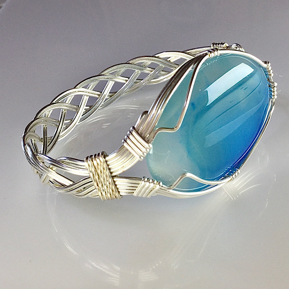 Blue Banded Agate Celtic Woven Bracelet, Wire Wrapped Bracelet, Wire Jewelry