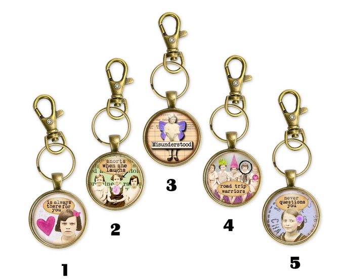 Fun key chains or purse charms with sassy sayings.  Fun gift for a girl's night