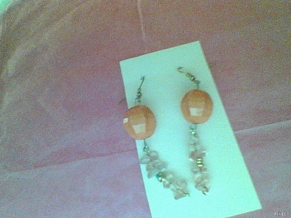Long pink and white handmade earrings