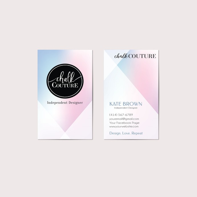 Pastel Chalk Couture Business Cards, Chalk Couture Independent Designer CC07