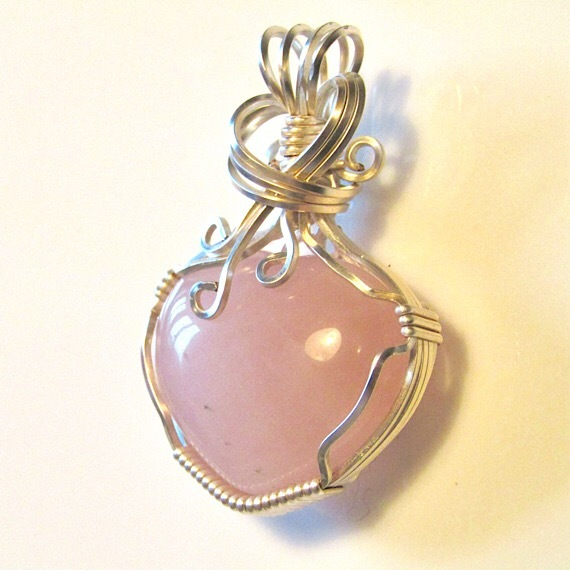 Rose Quartz Pendant, Wire Wrapped Pendant – Thrayne