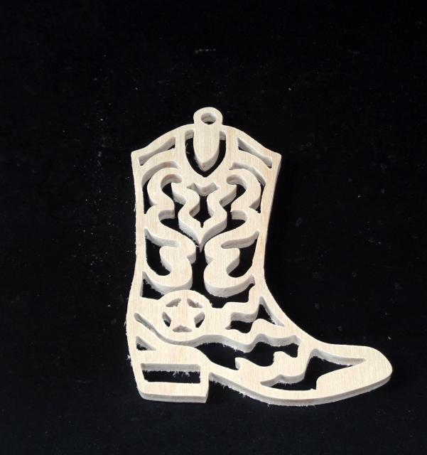 Boot  Ornament Unfinished Wood Stk No CO-27
