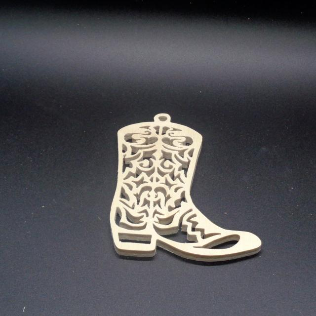 Boot  Ornament Unfinished Wood Stk No CO-28