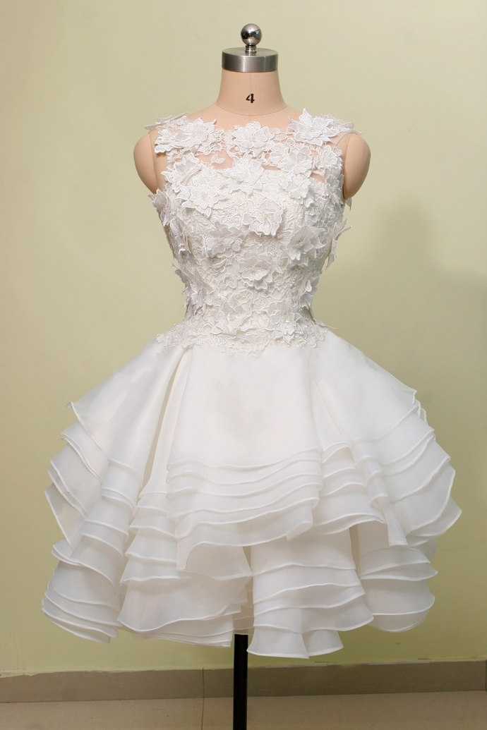 White Layers Short Party Dress with Lace, White Graduation Dress