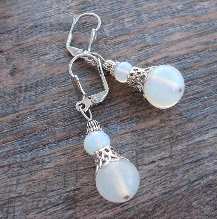Opalite Vintage Style Leverback Earrings Opal Glowing Glass