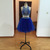 Royal Blue Two Piece Beaded Halter Party Dress, Blue Homecoming Dress