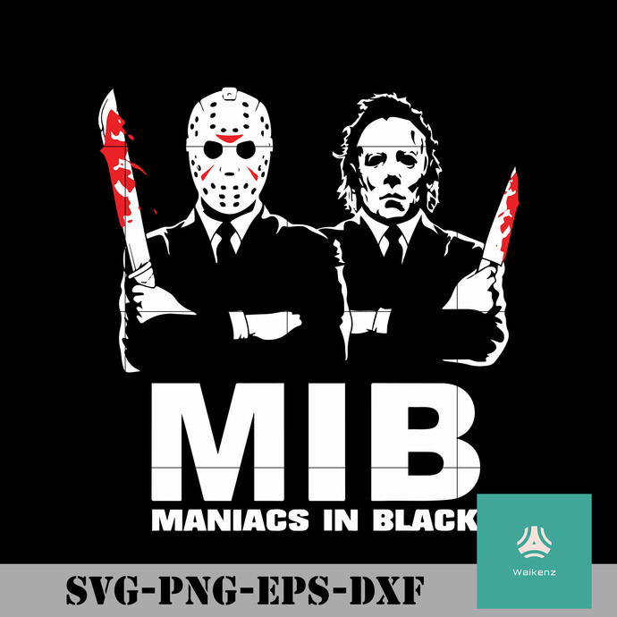 MID maniacs in black svg, halloween svg, png, dxf, eps digital file HLW0205