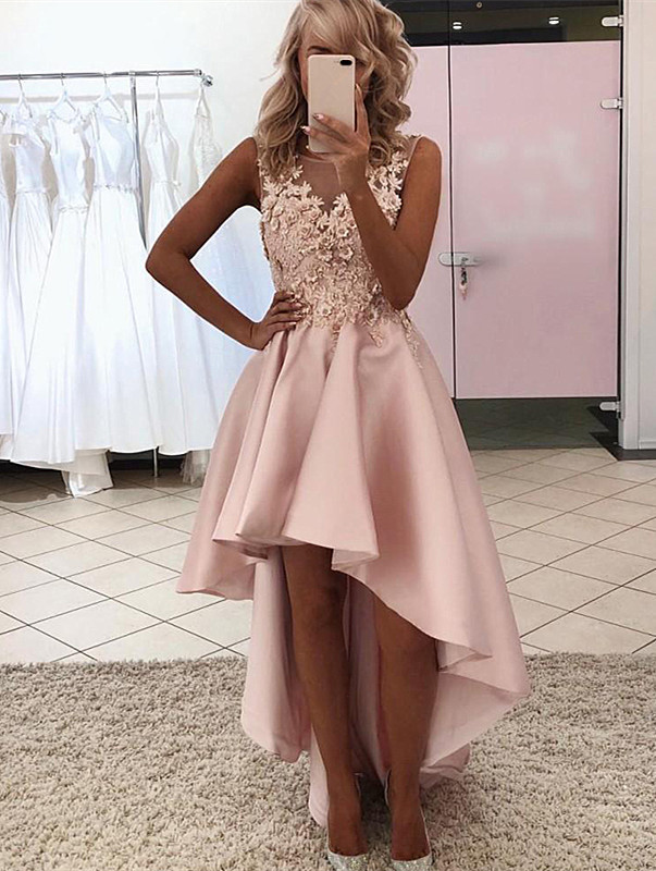 Chic Pink High Low Satin Round Neckline with Lace Flower, Pink Homecoming Dress