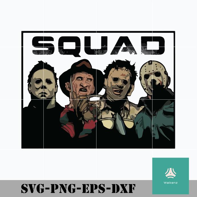 Squad Horror Freddy Krueger Leatherface Michael Myers Jason Voorhees svg,