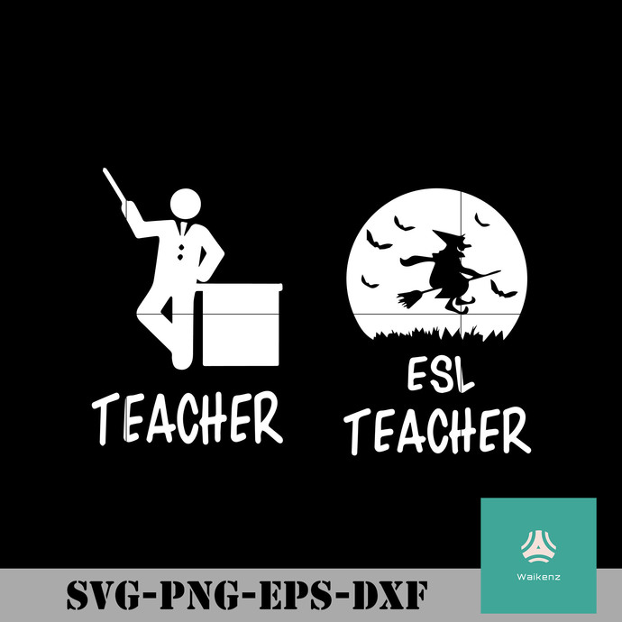 Teacher esl teacher svg, Halloween svg, png, dxf, eps digital file HLW0131