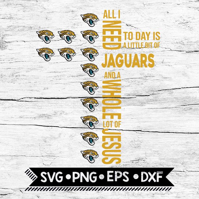 All I Need Little Jaguars & Lot Jesus Cross Svg, Jacksonville Jaguars Svg,