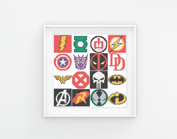 #32 Superhero logo Modern Cross Stitch Pattern, logo characters comics, movie