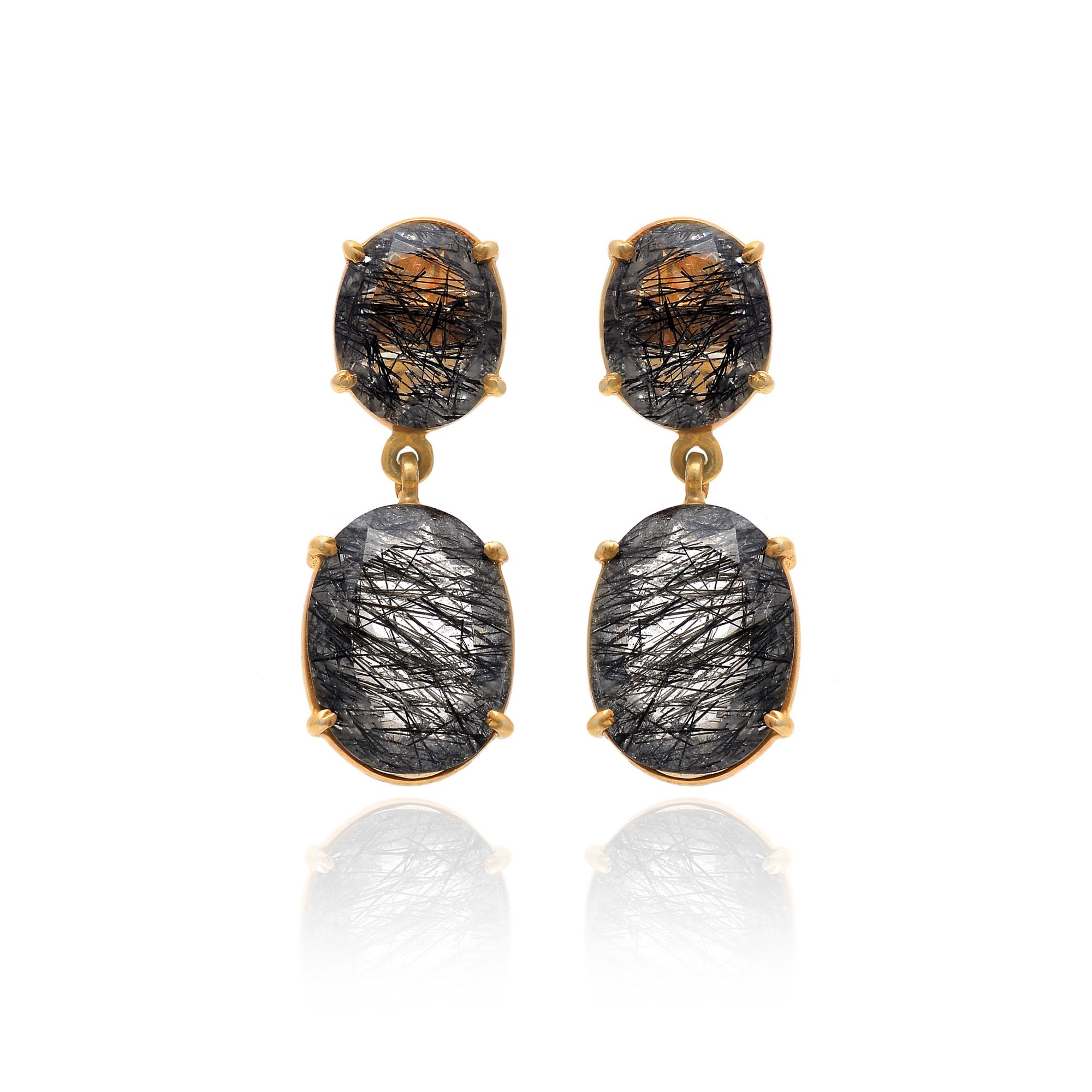 925 Sterling Silver Rutile Quartz Dangler Earring,Quartz Earring,Rutile Quartz