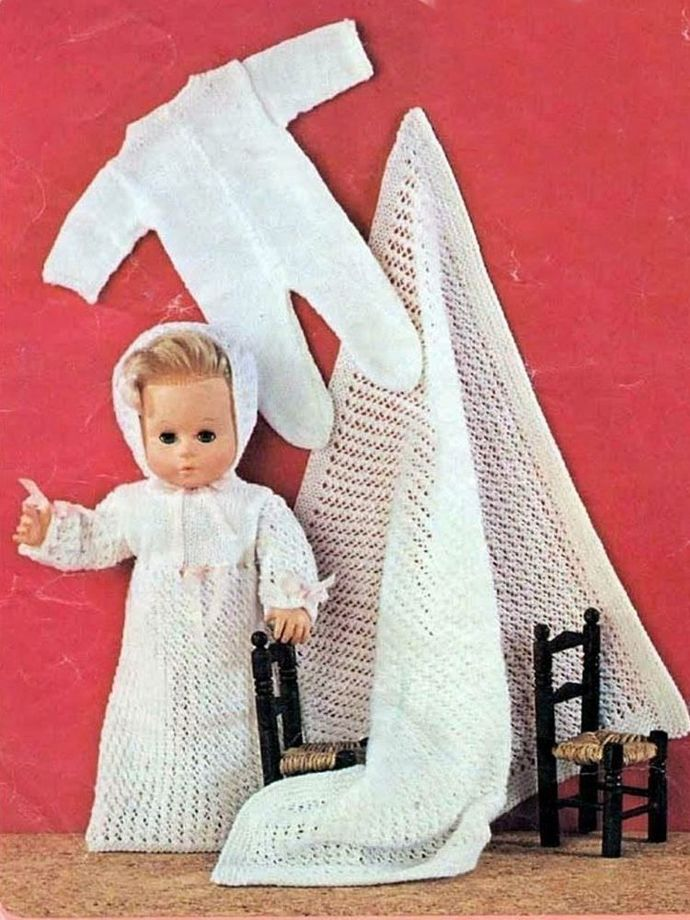 PDF Digital Download  Vintage Knitting Pattern Dolls Clothes Two 14 inch Baby