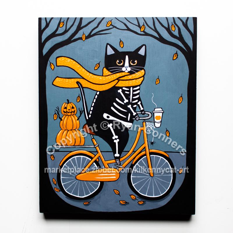 Skellie Cat Bicycle Ride Original Whimsical Cat Folk Art Painting