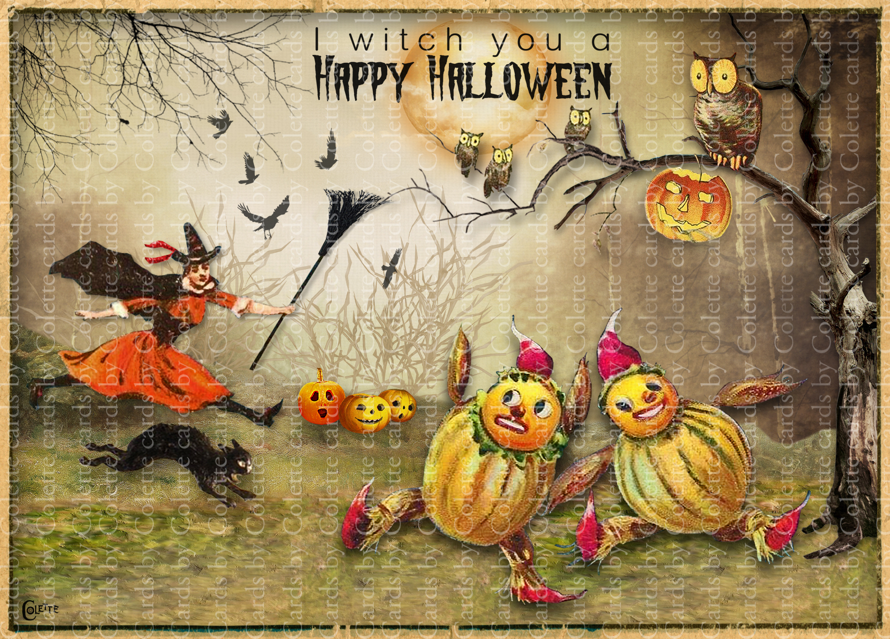 Halloween Witch and Veggie People Greeting Card3012
