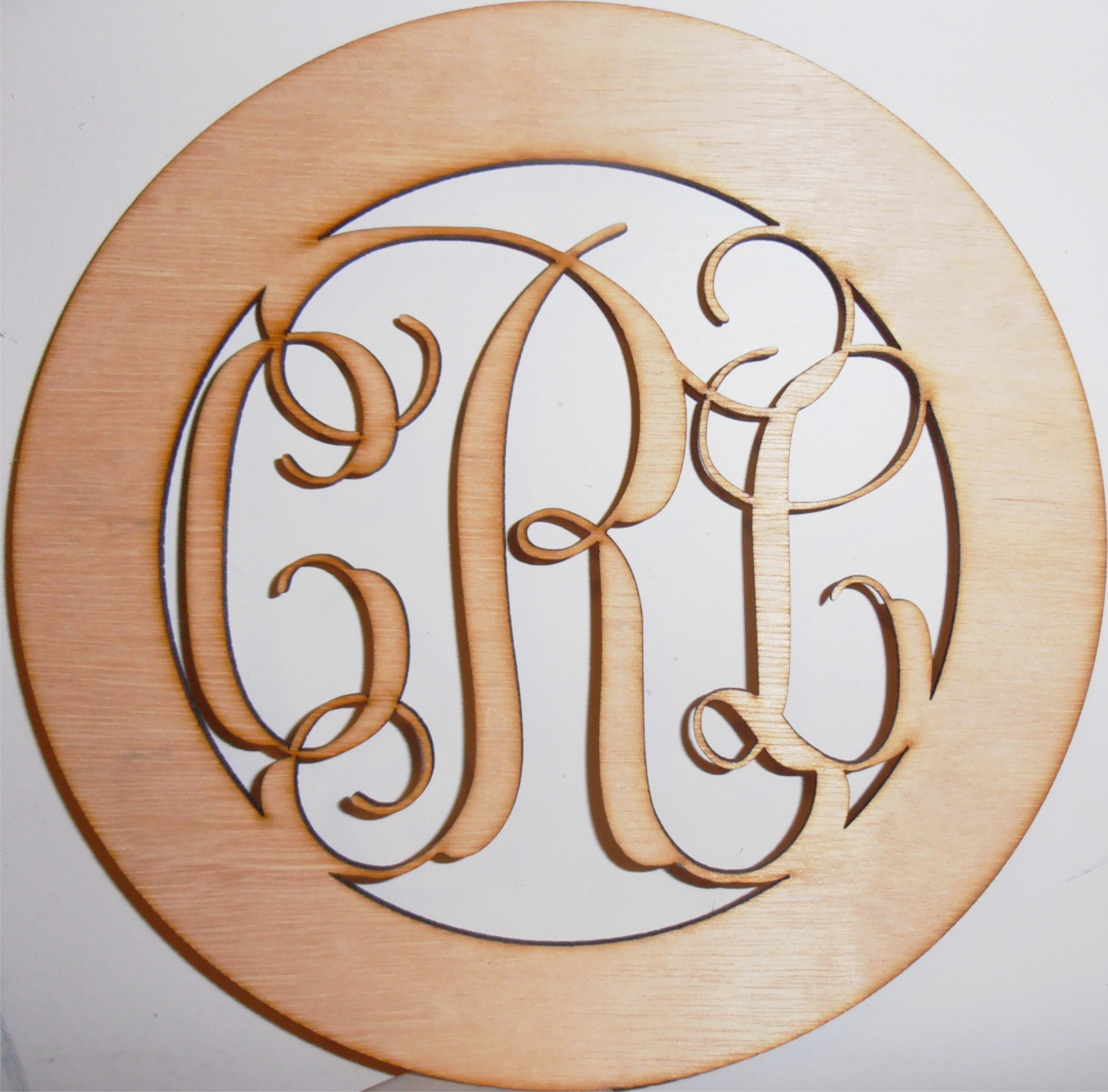 Framed Three Letter Monogram / Laser Cut Wood / Personalized Free