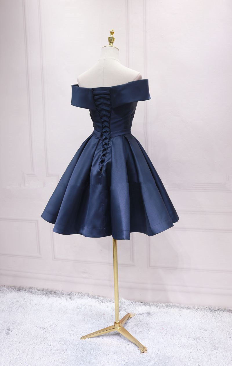 Fashionable Satin High Quality Knee Length Off Shoulder Homecoming Dress, Blue