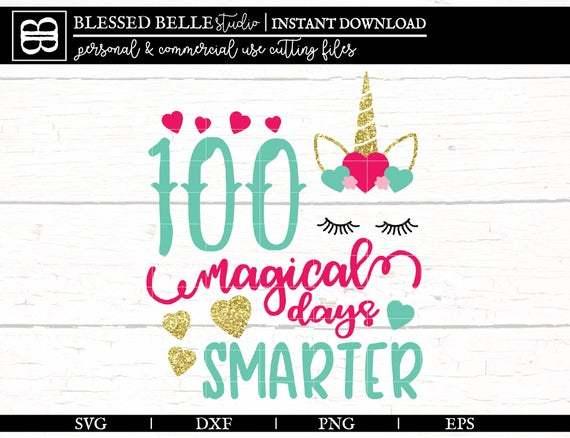 100 Days Of School Svg Unicorn 100 Days By Annasvgfile On Zibbet