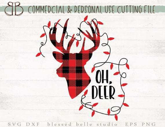 Buffalo Plaid Deer Svg Oh Deer Svg Christmas By Annasvgfile On
