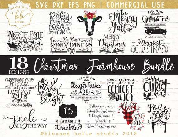 Christmas Farmhouse Svg Christmas Farmhouse By Annasvgfile On Zibbet