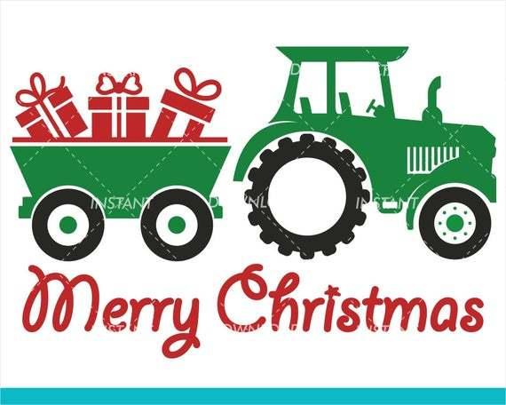 Christmas Svg Farm Tractor Monogram Svg Cut By Annasvgfile On Zibbet
