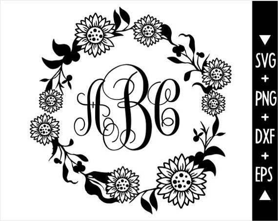 Flower Monogram Frame Svg Circle Rose Monogram By Annasvgfile On