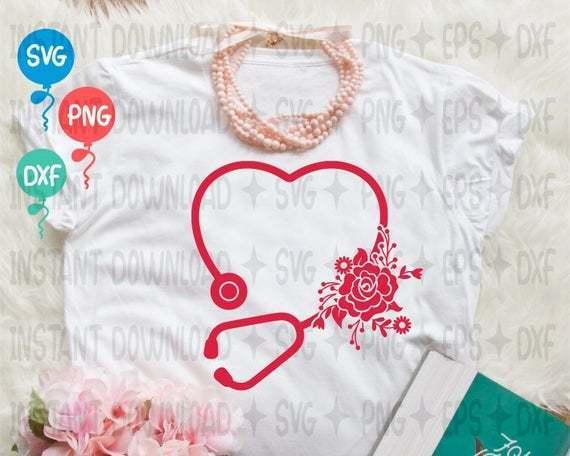 Floral Stethoscope SVG File  Medical Assistant SVG File  Stethoscope monogram