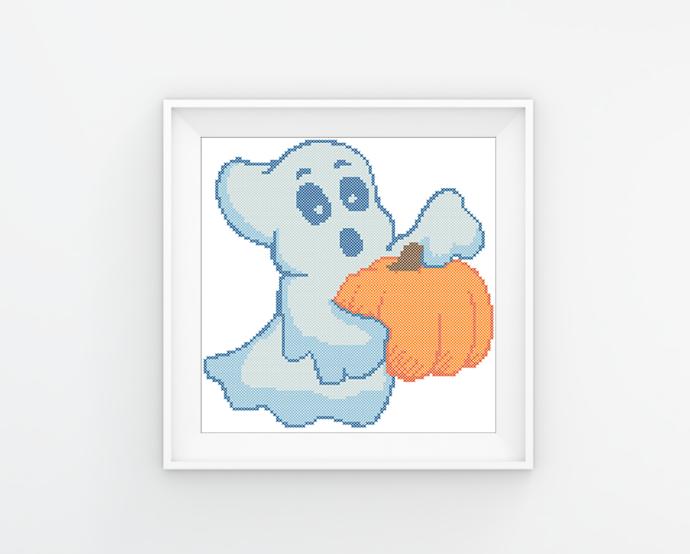 #30 Halloween  pumpkin ghost Modern Cross Stitch Pattern, cute funny ghost