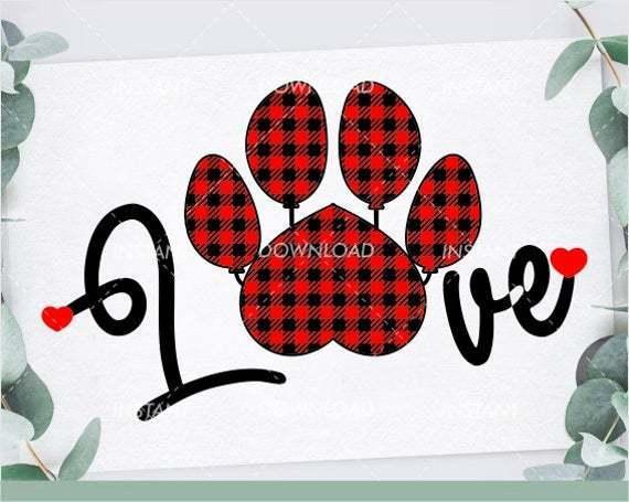 Love Paw Print Love Dog Svg Files Plaid By Annasvgfile On Zibbet