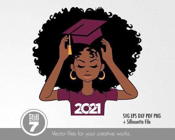 Afro Woman Burgundy svg , Graduation 2021 svg , Black woman , svg cutting file ,
