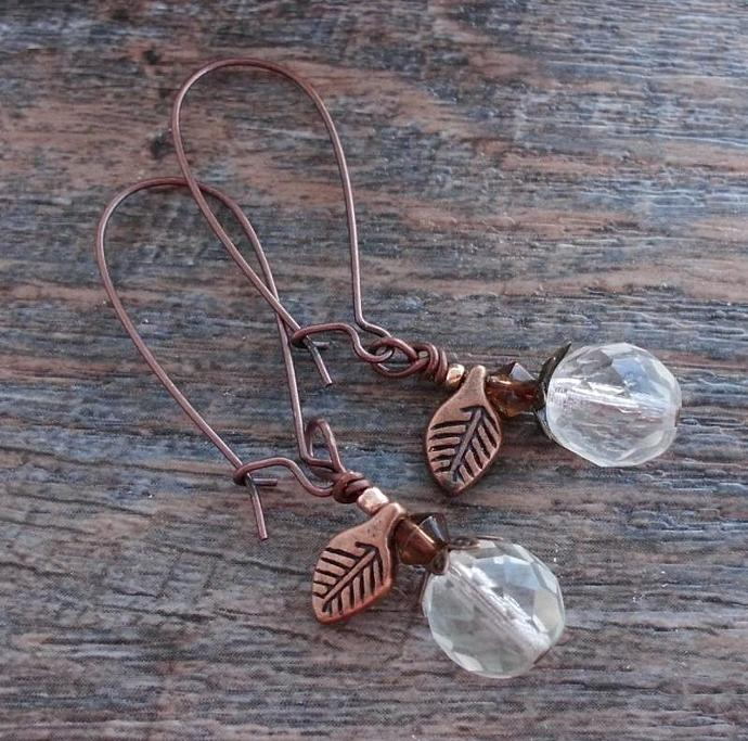 Clear Faceted Crystal Earrings with Copper Leaves.