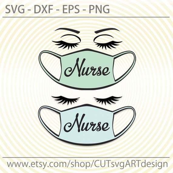 Nurse svg, Nurse face with mask Svg cut file, for Cricut, Silhouette svg dxf eps