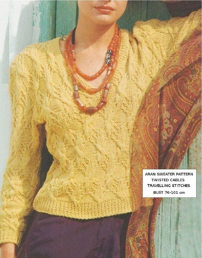 PDF Digital Download  Vintage Knitting Pattern Womens Ladies Aran Sweater Jumper