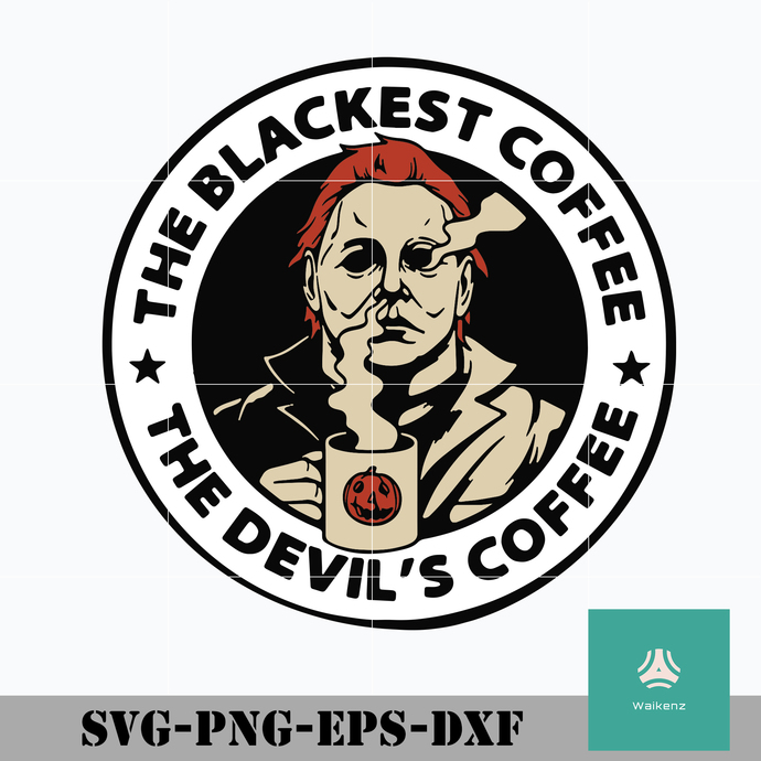 The blackest coffee svg, the devils coffee svg, halloween svg, png, dxf, eps