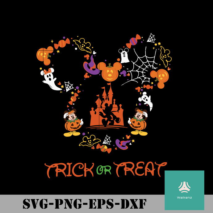 Trick or Treat Mickey svg, halloween svg, png, dxf, eps digital file HLW0135