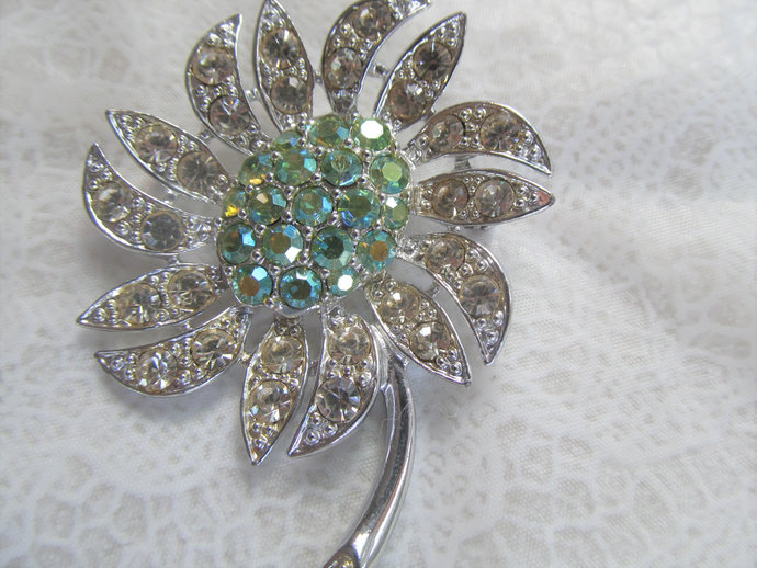 """SARAHCOV signed vintage rhinestone brooch from the 60's """"Mountain Flower"""""""