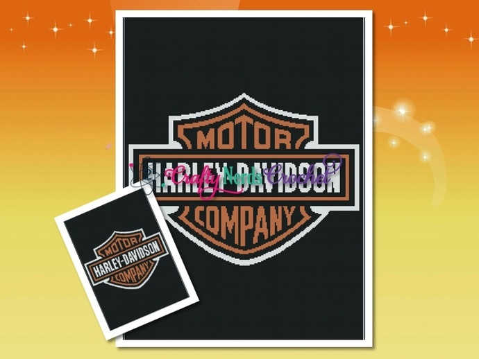 Harley Davidson( Smaller) Pattern Graph With Single Crochet Written
