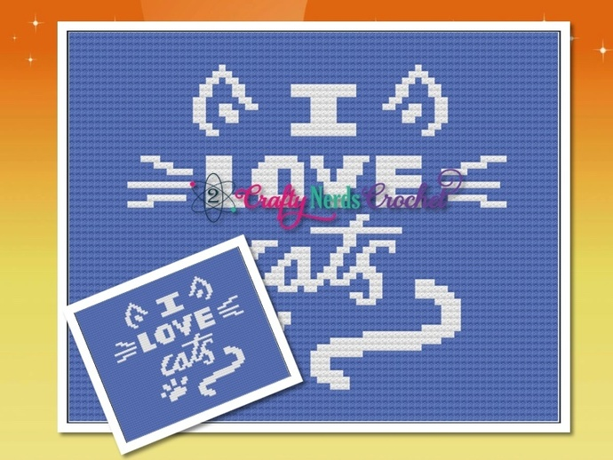 I love Cats Pattern Graph With C2C Written