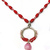 Red Dyed Howlite and Pink Czech Glass Beaded Necklace, Round Silver tone Pendant