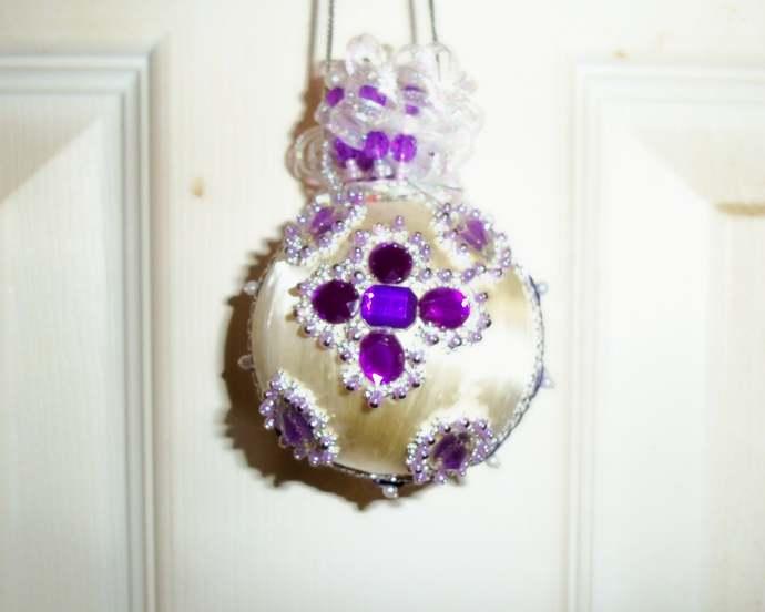 Purple/Silver Christmas Ornament Sm Handmade