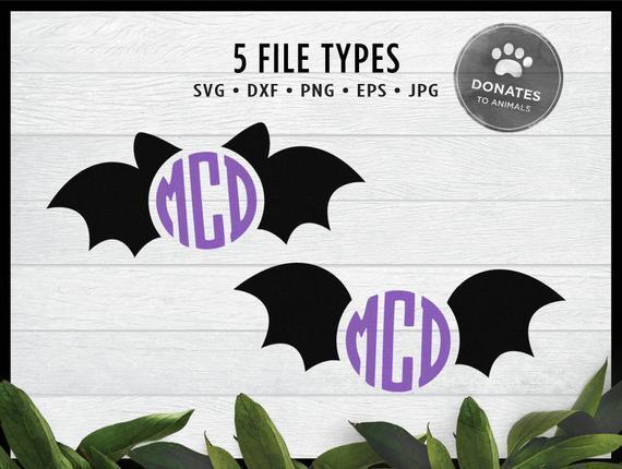 Cute Bat Monogram Svg Bundle Halloween By Theking Svg File On Zibbet