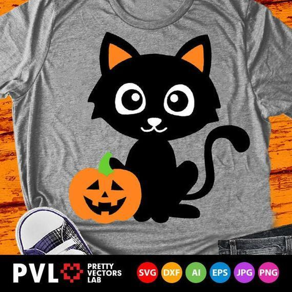 Cute Black Cat Svg Halloween Svg Cat By Theking Svg File On Zibbet