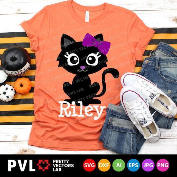 Cute Black Cat Svg Halloween Svg Girl By Theking Svg File On Zibbet
