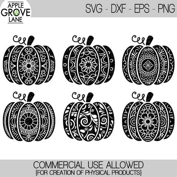 Get Patterned Pumpkin Design Set – Svg, Dxf, Eps Cutting Files DXF