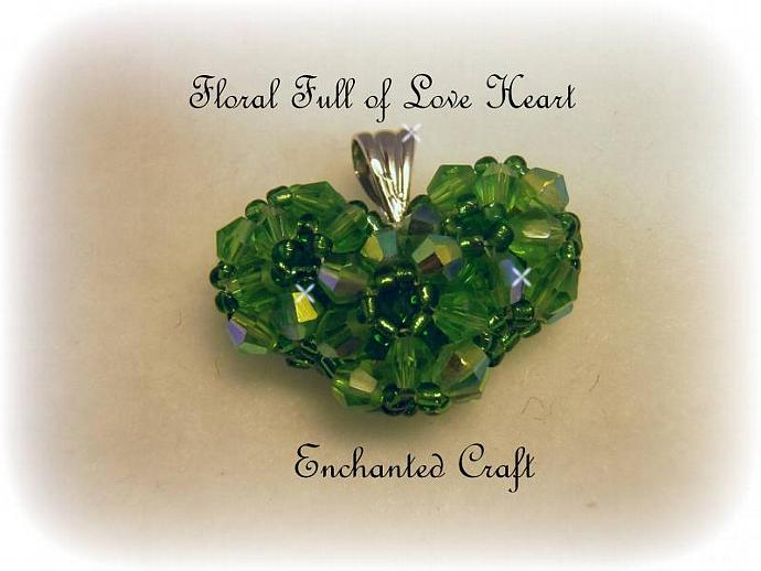 Floral Full of Love beaded celestial crystal heart necklace- Emerald Isle Green